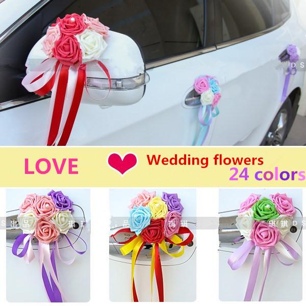 DIY LOVE heart foam Rose pearl Married celebrate supplies car floats wedding car decoration wedding flowers(China (Mainland))
