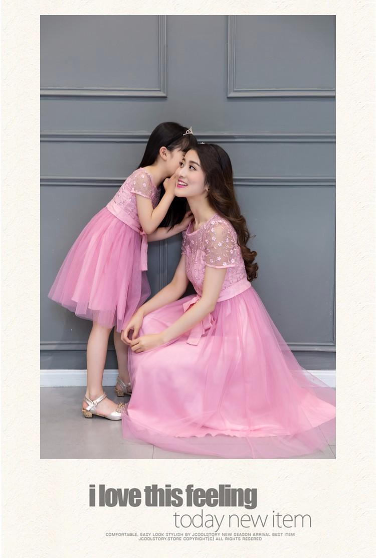 Скидки на Летнее платье 2016 мать и дочь одежда семья одежда девушка с коротким рукавом платья макси долго розовый кружевной сетки платье с лук