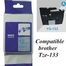 12mm*8m blue on clear   Tze-133 compatible brother label tape P-touch Tze133 Printer Ribbons Printer Supplies Office