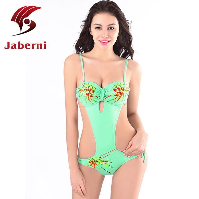 Зеленый купальник купальный костюм сексуальная монокини пляж вырежьте дамы купальник ремень цельный боди росту женщин-luxury купальники