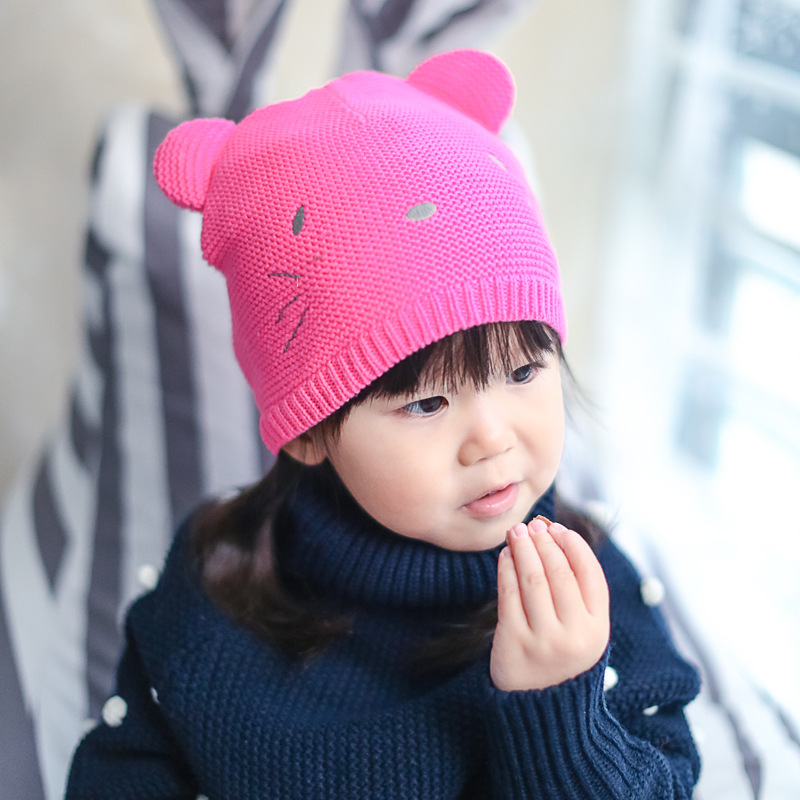 Wholesale retail of 2016 new yarn for Autumn winter hats for children rose pure cotton cat cartoon head hats children caps 1pcsОдежда и ак�е��уары<br><br><br>Aliexpress