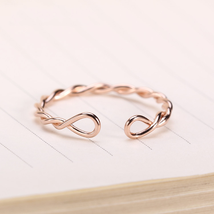 Free Shipping 100% 925 Sterling Silver Ring Rose Gold Plated Hemp Rings For Women Vintage 925 Silver Ring Fine Jewelry SSR004(China (Mainland))