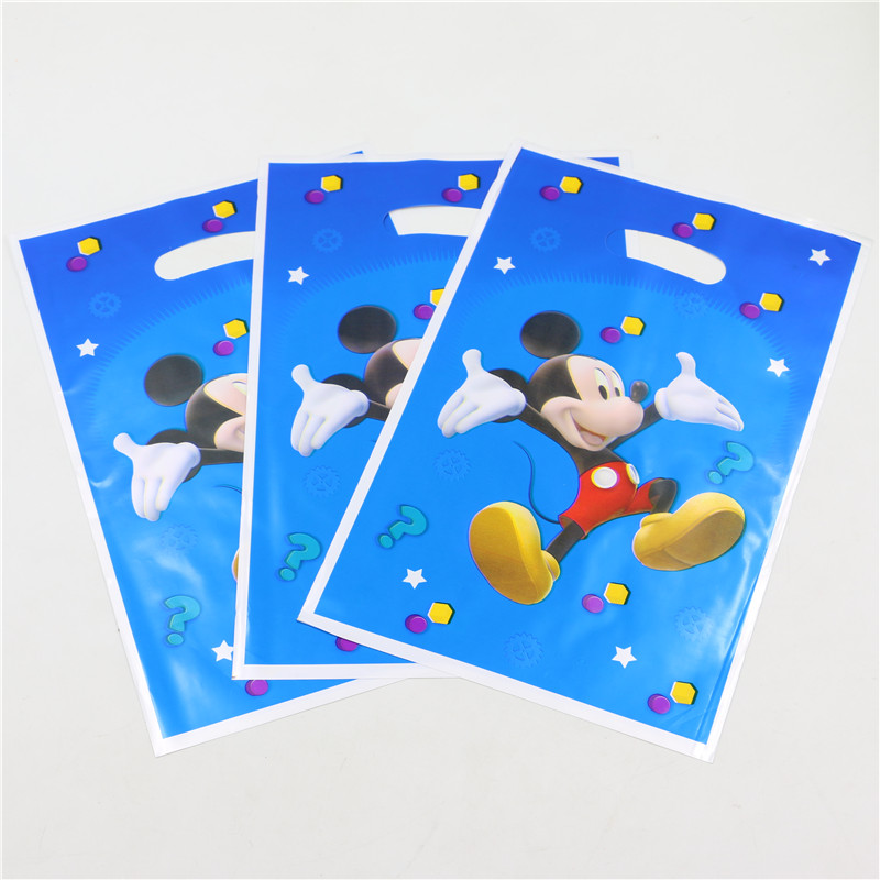 20 Pieces Cartoon Print Colorful Shopping Package Plastic Bag Favor Wedding Packaging Gift Bags Birthday Party Wholesale PP229(China (Mainland))