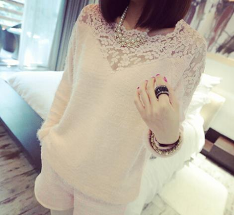 Slim Elegant Long Sleeve Hollow Lace Oversized Knitted Sweater Women Sweaters Pullovers Winter Knitwear - Just Buy Me store