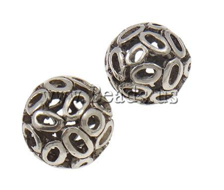 Free shipping!!!Zinc Alloy Hollow Beads,Jewelry 2013 Fashion, Round, antique silver color plated, nickel, lead & cadmium free