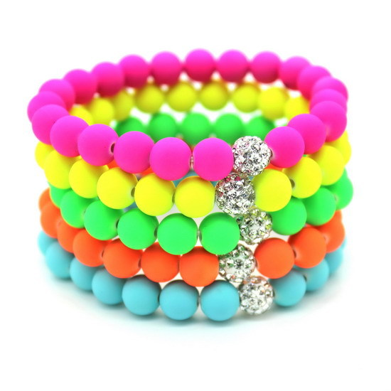 8mm candy colors silicone beads bracelet for men women trendy diy fluorescent neon strand. Black Bedroom Furniture Sets. Home Design Ideas