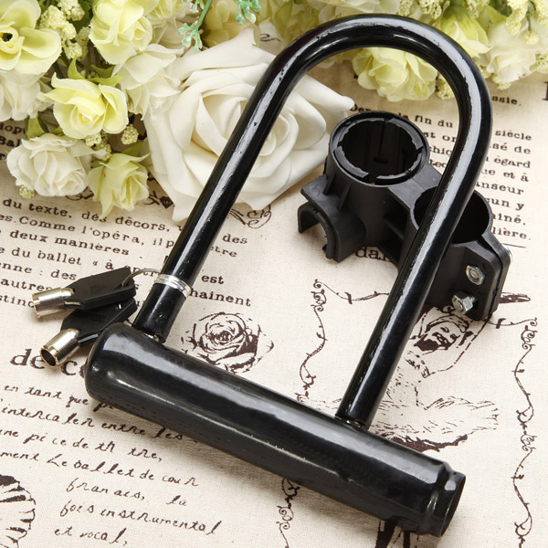 New Arrival Safety Practical Heavy Duty Bike Scooter Locks Bicycle Motorcycle Guard Bracket Keys Steel U Lock(China (Mainland))