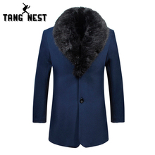 Hot Sale 2016 Handsome Slim Men's Trench Coat With Fur Collar Fashion Winter Youth Overcoat Plus Big Size XXXL Wholesale MWD032(China (Mainland))