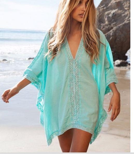 Cotton Blue White V-neck Bikini Beach Cover Up Women swimsuit cover up Beachwear summer Bathing Suit Cover-Ups Beach Dresses(China (Mainland))