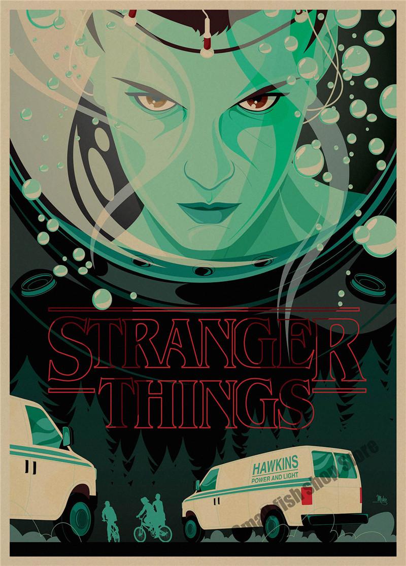 Stranger Things retro Poster Retro Kraft Paper Bar Cafe Home Decor Painting Wall Sticker