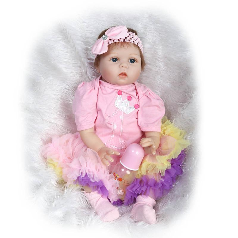 22inch Doll Reborn Silicone Reborn Dolls BeBe Reborn Doll Toys Lifelike Newborn Baby Playmate Baby Toys For Girl Christmas Gift(China (Mainland))