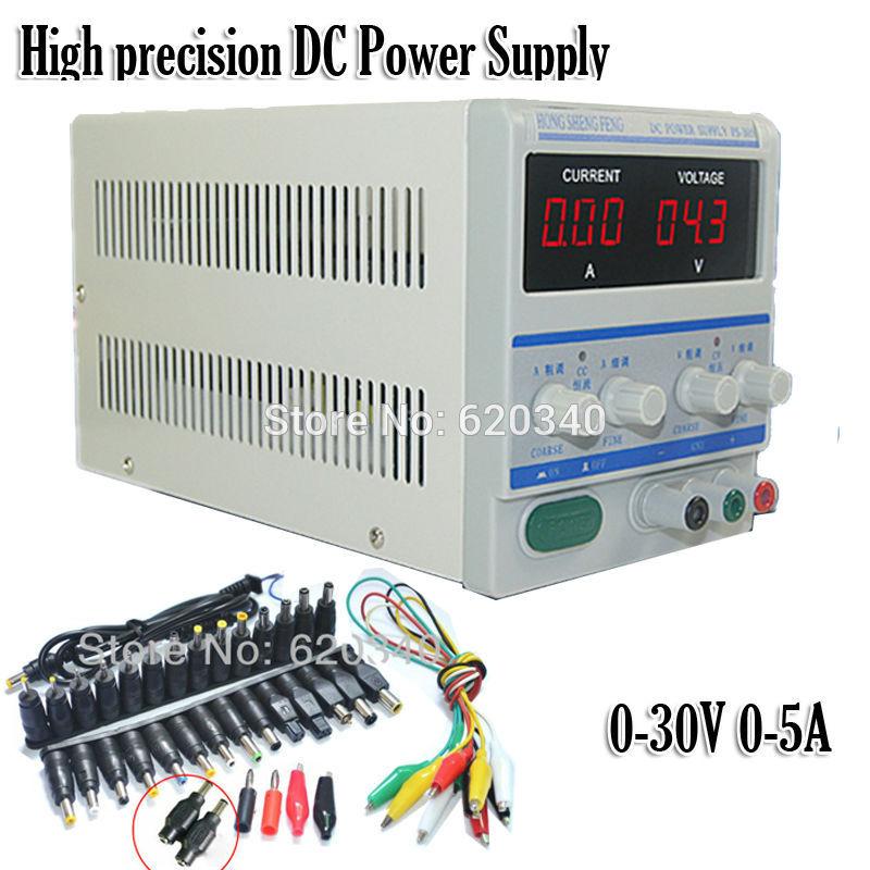 EU Plug 220/110v High precision Digital Adjustable DC Power Supply 0-30V 0-5A DC For Lab Notebook computer repair +39pcs Plugs(China (Mainland))