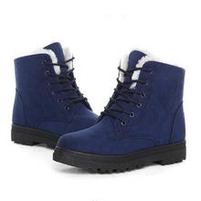 Mujeres Botas de Nieve Caliente Botas de Invierno Zapatos de Las Mujeres Atan Para Arriba Cargadores Del Tobillo de Piel Señoras Zapatos de Invierno Negro(China)