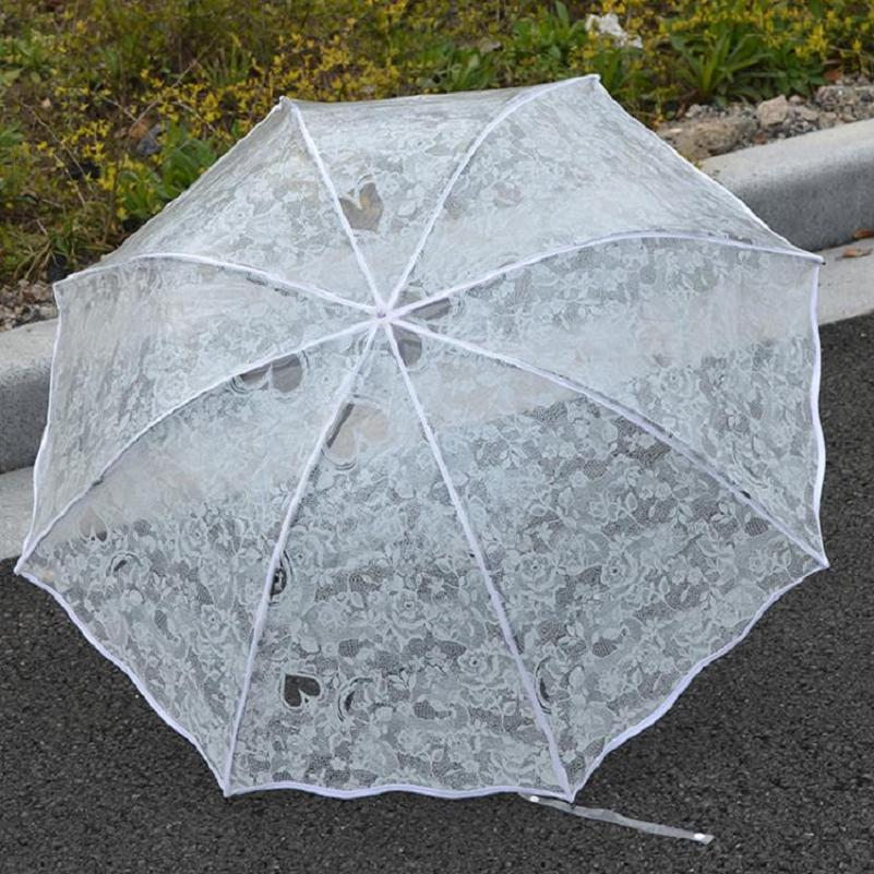 1pc transparent folding umbrella women umbrella white lace printing umbrella parasol small rain umbrella BNSHR0128(China (Mainland))