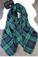 2015 Hot Sale Women Fashion Brand Winter Green Checked Plaid Tartan Wrap Shawl Pashmina Scarves For Christmas Gift Free Shipping