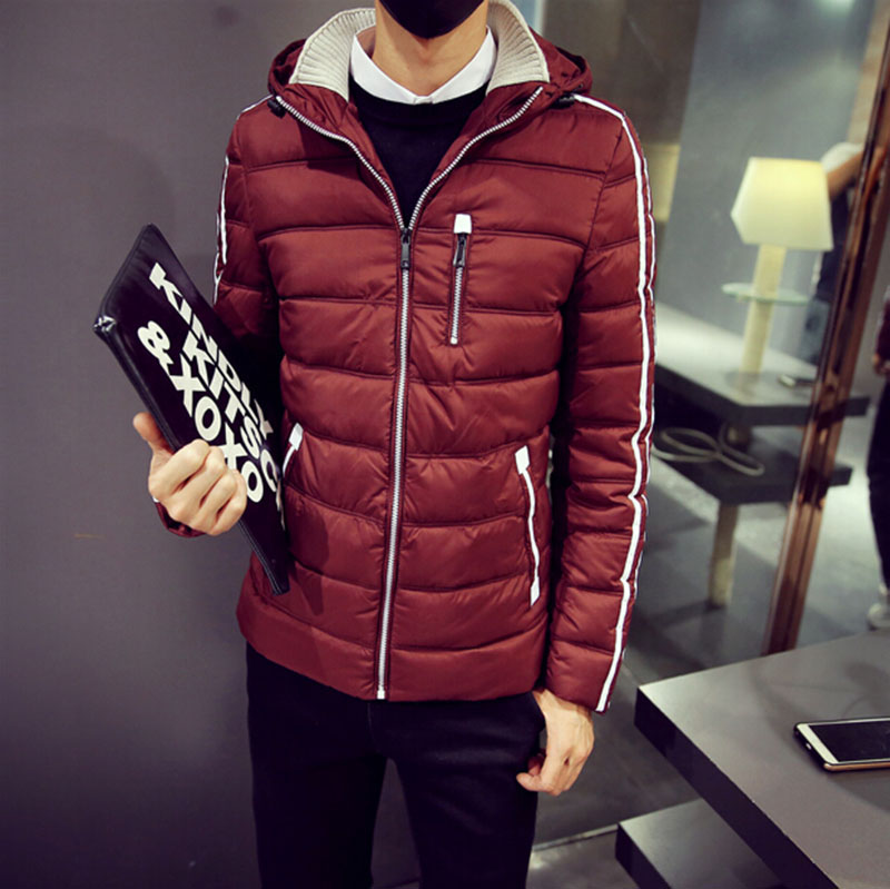Winter Jackets Mens hooded wadded warmer slim casual outdoors outerwear thicken jackets Fashion Solid color Winter