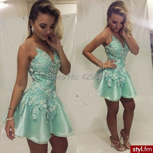 Modest V Neck Sleeveless Sheer Neck Organza Homecoming Mini Party A Line Mint Green Gowns 2016 Cocktail Dresses UM1023