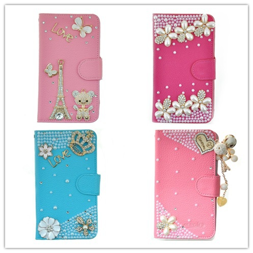 For Touch 5 Case, New Design 3D Bling  Leather Wallet with Credit Card Slot Flip Diamond Case Cover for iPod Touch 5 5G(China (Mainland))