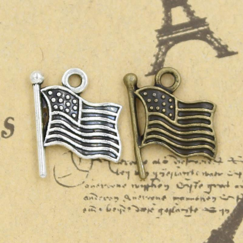 Charms USA flag 50pcs 12mm No.GQ03612 Tibetan Silver DIY Retro Jewelry Bracelet Necklace Antique silver pendant bronzr pendant(China (Mainland))