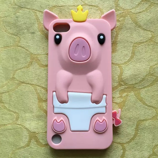 3D Cartoon Crown Pig silicon case coque for ipod touch 6,Cute soft full protective case cover funda for ipod touch 6(China (Mainland))