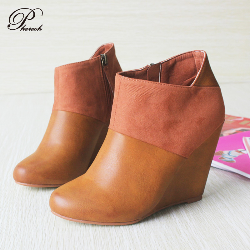 Fashion autumn wedges boots women sexy high heels ankle boot women platform shoes autumn Rubber soles(China (Mainland))