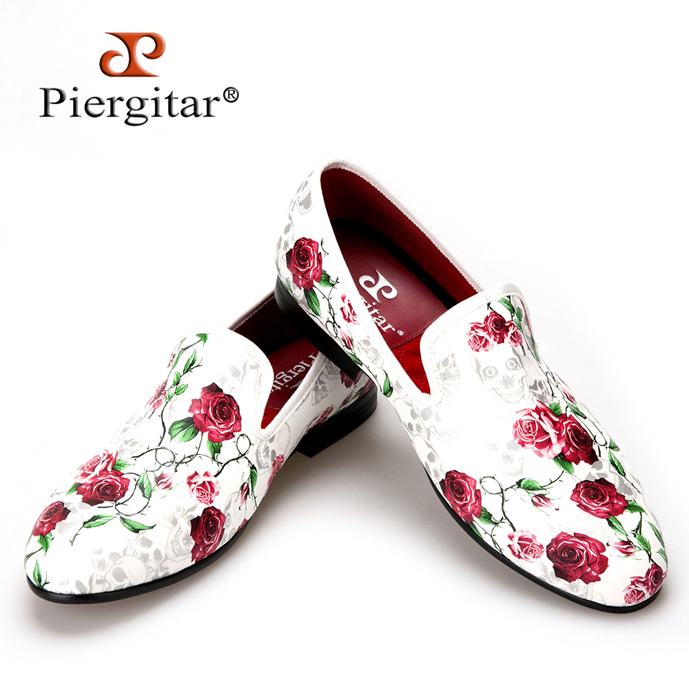 Piergitar 2016 New Style Skull And Flowers Prints White Color Men Shoes Fashion Men Smoking