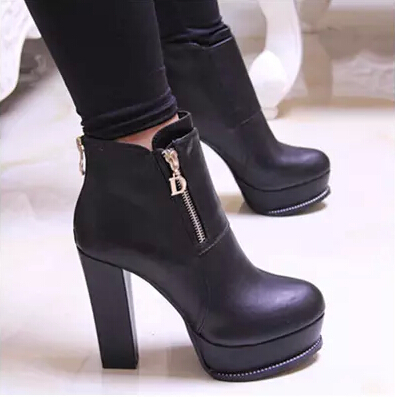 2015 Newest women autumn and winter fashion high-heeled shoes thick heel martin boots sexy platform ankle boots