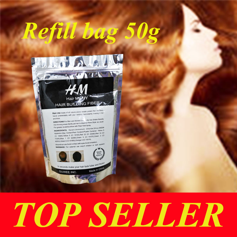 10 Colors Fast Hair Regrowth Products Fibers Hair Growth Spray For Men or Women 50g refill bag(China (Mainland))