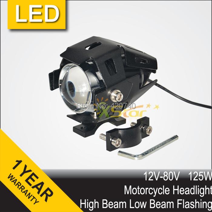 125W LED Motorcycle Motorbike 3000LM Upper Low Beam & Flash CREE U5 LED Driving Fog Spot Head Bulb Light Lamp Headlight(China (Mainland))