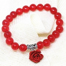 Charms girls gift 8mm red jasper bracelet round beads flower pendant  party birthday special design jewelry 7.5inch B1411(China (Mainland))