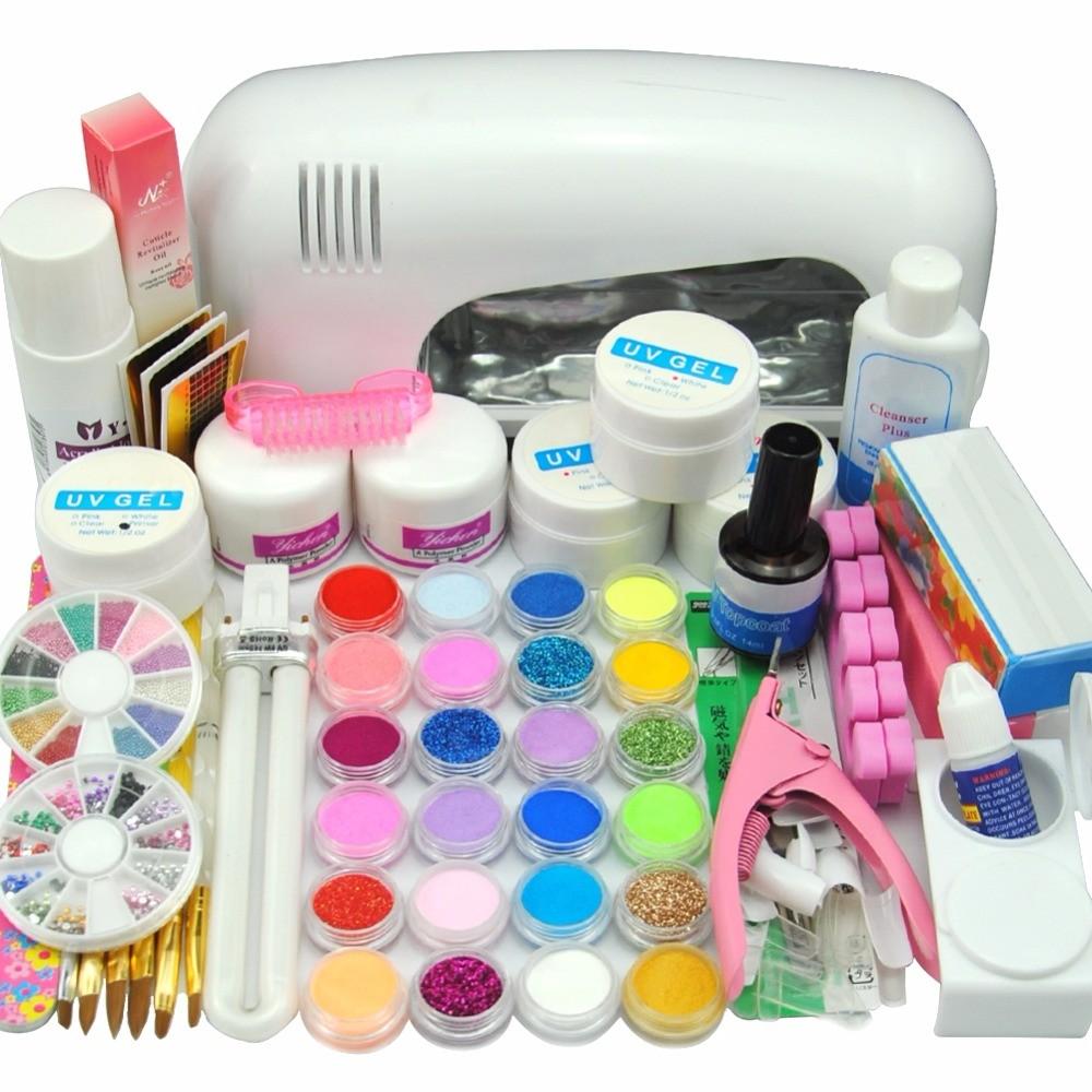 9W-UV-white-dryer-lamp-18-color-Acrylic-Powder-rhinestones-UV-GEL-Nail-Art-Kit-gel
