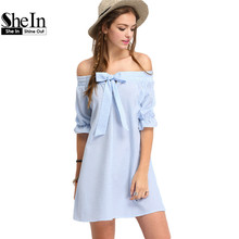 SheIn Ladies Dresses 2016 New Fashion Summer Off The Shoulder Half Sleeve Vertrical Striped Bow Cute Shift Dress(China (Mainland))