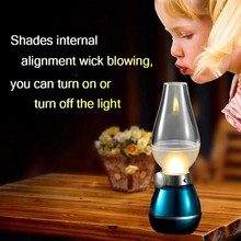 Golden /Purple/ Red / Blue / Green/ New Blowing Control Lamp USB Rechargeable LED Kerosene Lamp Retro Style Cute LED Night Light(China (Mainland))