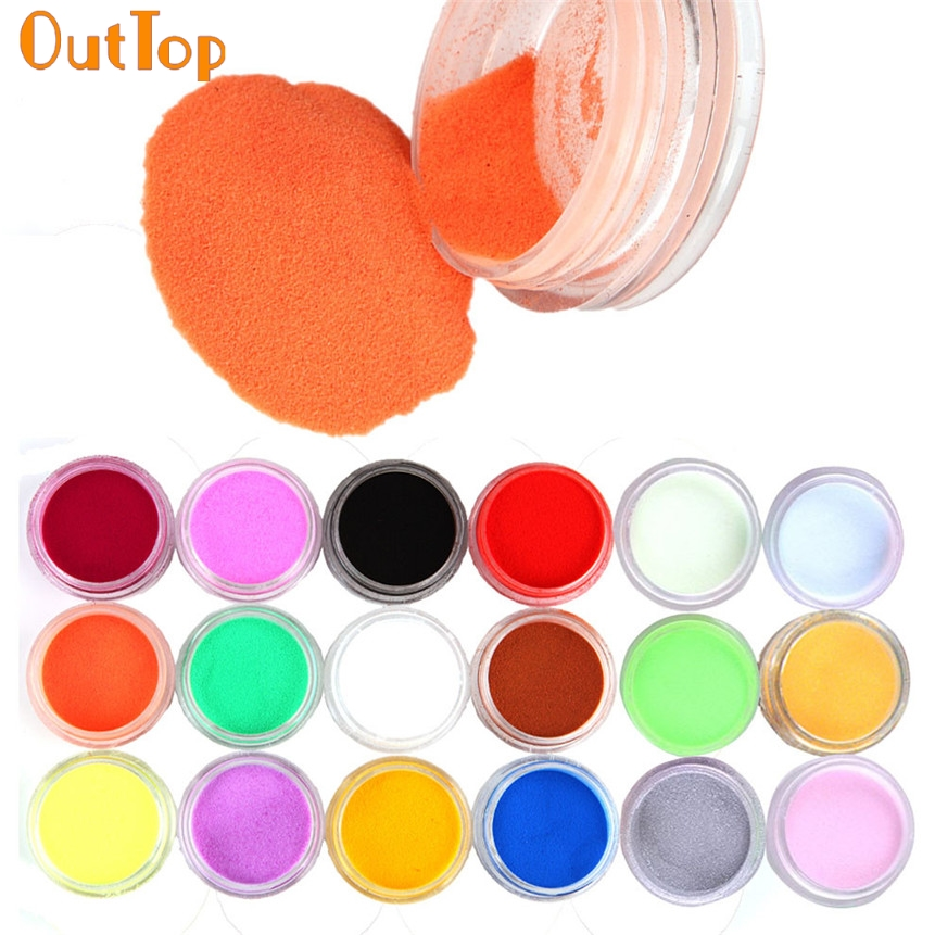 OutTop Love Beauty Female 18 Colors Nail Powder Nails Art Acrylic Carving Dust UV Gel Design 3D Tips Decoration Manicure 160926(China (Mainland))