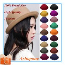 Hot Sale !! 2015 Vintage Women Lady Cute Trendy Wool Felt Bowler Derby Fedora Hat Cap Hats Caps 19 Colors(China (Mainland))