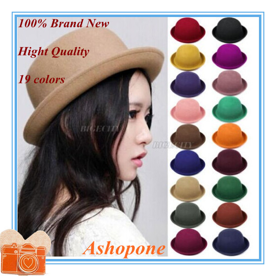 Hot Sale !! 2015 Vintage Women Lady Cute Trendy Wool Felt Bowler Derby Fedora Hat Cap Hats Caps 19 Colors(China (Mainland))