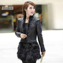 Autumn Winter Ladies' Real Natural Sheepskin Leather Coat with Fox Fur Hem Women's Fur Outerwear VF0462(China (Mainland))