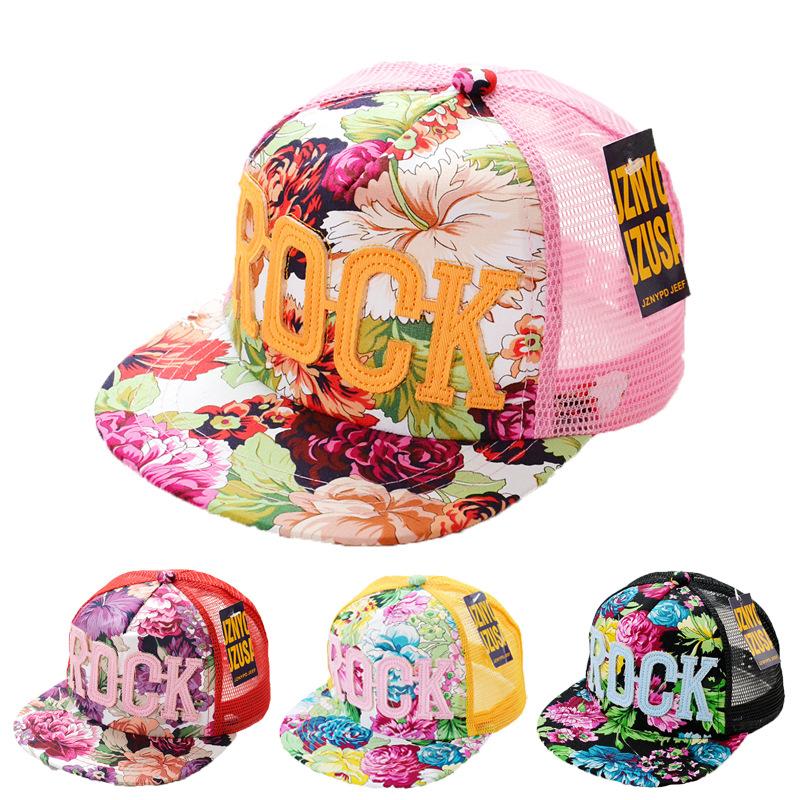 2016 Flowers Print Summer Rock Children's Baseball Caps Baby Boys Girls Summer Sun Mesh Caps Snapback Hat(China (Mainland))