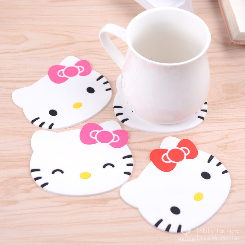 Hello kitty silicone Anti Slip Kawaii Cup Mat Dish Bowl Placemat Coaster Base Kitchen Accessories Cozinha Home Decoration Zakka(China (Mainland))