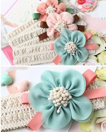 1pcs Fashion Design Baby Girls Headband Infant Toddler Kid hair band Newborn Chiffon Flower Headwear Hair Accessories xth011-1(China (Mainland))
