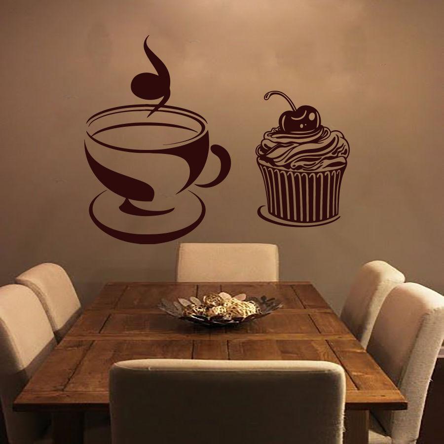 Modern Wall Decals Coffee Mural Vinyl Sticker Kitchen Decor Cafe Shop Bedroom Diningroom Home Interior Design(China (Mainland))