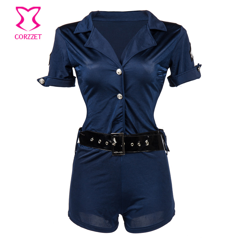 Blue Short Sleeved Jumpsuit With Belt Policewoman Outfit Cosplay Cop Costume Sexy Halloween Costumes For Women Police Uniform