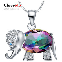 Collier Rainbow Colour Elephant Formed Pendant Necklace 925 Sterling Silver Chain Necklaces Cute Items For Ladies Ulove N1154