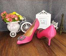 HOT Big Size 2015 New High Heels Women Pumps High Quality Manolos Wedding Shoes Jeweled Rhinestone