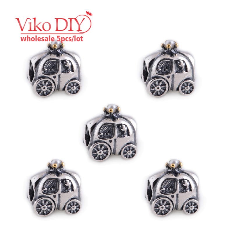 5pcs/lot Trending Classic Carriage Charm 925 Silver Tone Charms Acessorios Para Carro Jewelry Wholesale Diy Viko Jewelry LW024<br><br>Aliexpress