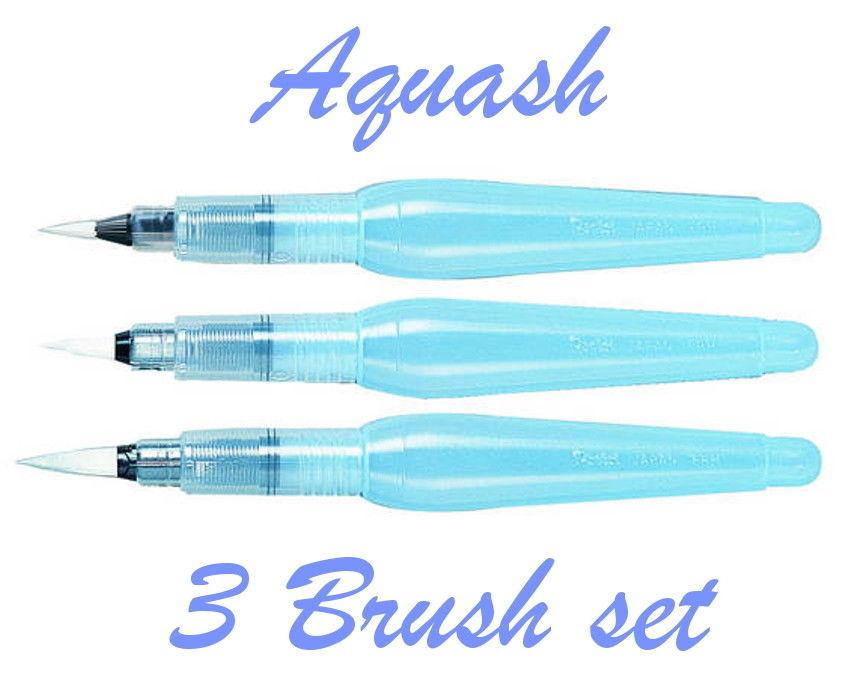 Medium and Broad Pack 3 Pentel Aquash Watercolour Brush Pens Fine