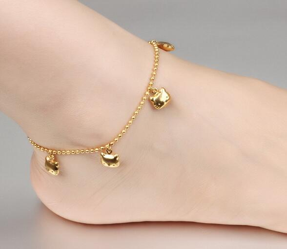Cats Casual Charm Anklet Yellow Gold Plated Foot Chain Ankle Bracelet -5pcs(China (Mainland))