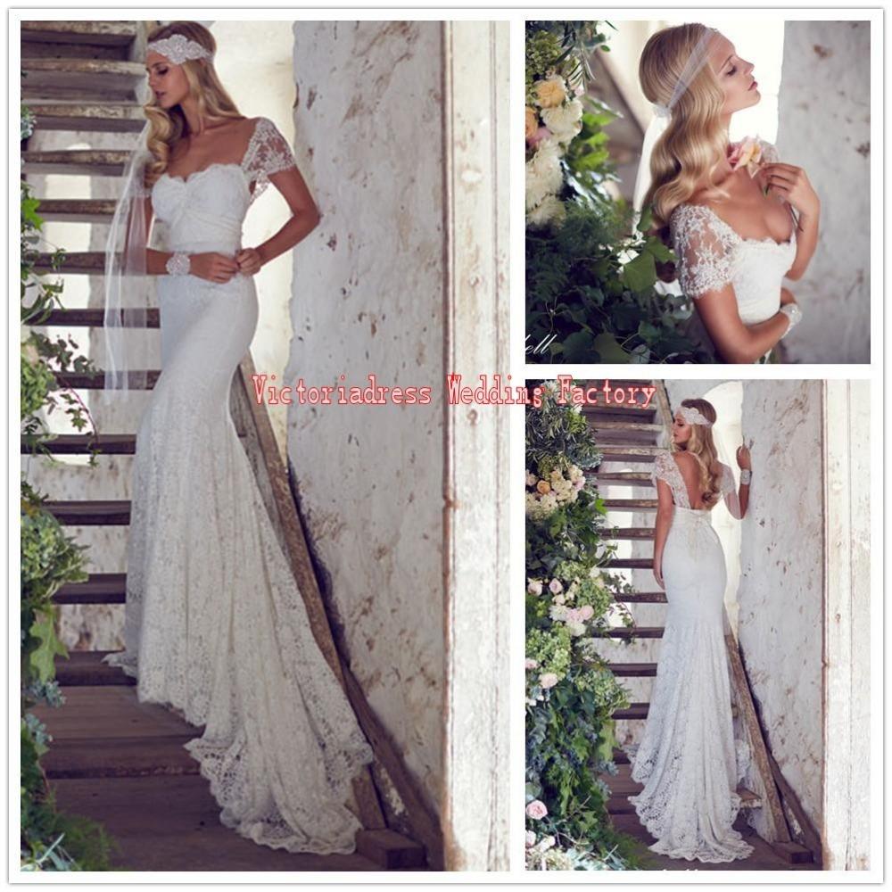 Robe de mariage charming long bohemian lace mermaid for Bohemian mermaid wedding dress