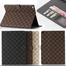 Business style Plaid Design For Apple iPad Air case PU Leather Cover for iPad 5 With Card holder Tablet  Accessories Y4A59D