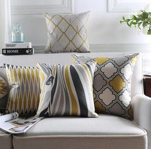Free Shipping!Geometric yellow grey black square throw pillow/almofadas case 45 53 60 30x50,european cushion cover home decore(China (Mainland))